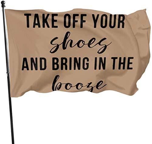 Alanader Garten Flagge, Patry Flagge, 3X 5 Ft dekorative Flagge ziehen Sie Ihre Schuhe aus und bringen Sie in den Schnaps im Freien lustige Blumen dekorative Flaggen für Garten Hof Rasen einseitig