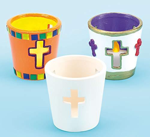 Baker Ross EF378 Teelichthalter aus Keramik mit Kreuz-Motiv für Kinder zum Basteln zu Ostern (4 Stück), Ceramic