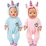 WENTS Einhorn Kleidung für Puppen 2 Stück Einhorn Kleidung Outfits Puppenkleidung Kostüm Kleider...