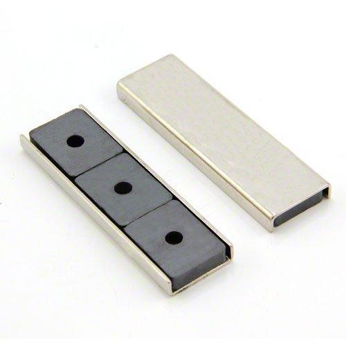 Magnet Expert 76 x 23 x 6.3 mm d'épaisseur Ferrite canal Aimant - 10 kg Pull (paquet de 10)