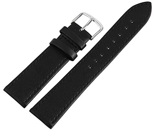 Leonardo Verrelli-Uhrenarmband Ersatz Leder glatt Dornschließe Breite 10-26 mm (Stegbreite: 14 mm, schwarz)