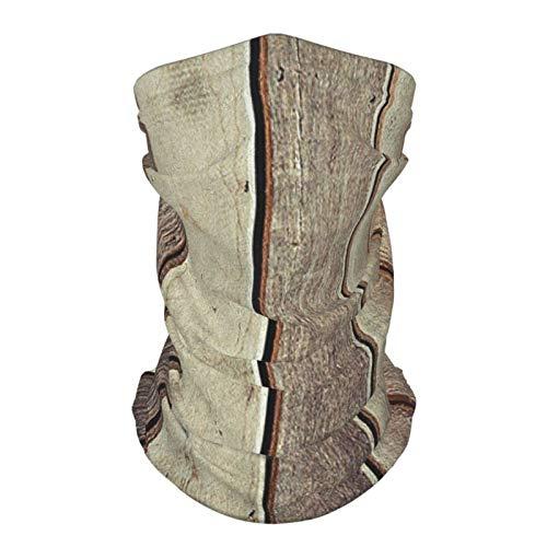 xfff132 Diadema de seda reutilizable al aire libre con cara de madera antigua tablones viejos pisos, imagen de pared estilo americano rústico occidental Panel gráfico impresión Es marrón bufanda cara