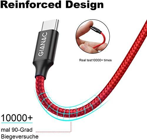 USB Typ C Kabel, GIANAC[4Pack 0.3M 1M 2M 3M ] 3A USB C Ladekabel und Datenkabel Nylon geflochten Fast Charge Sync schnellladekabel für Samsung S10/S9/S8+, Huawei P30/P20/P10,Google Pixel, Xperia XZ