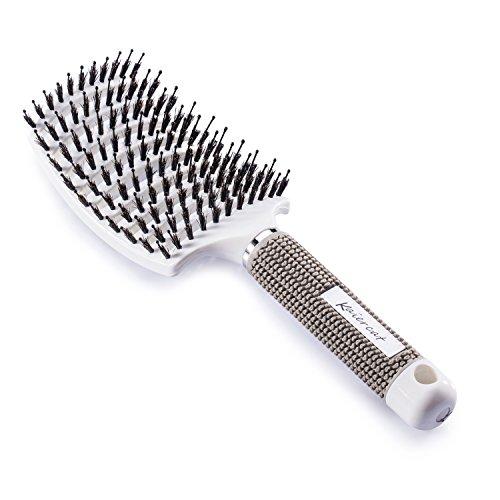 Brosse à poil de sanglier Kaiercat®-Meilleure pour démêlage de cheveux épais et démêlant pour séchage plus rapide - Poil de sanglier 100% naturel pour Distribution d'huile de cheveux (Blanc)