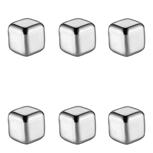 6Pcs Magic Stone Whiskey Stones Men Boyfriends Gifts - High Cooling Technology Reusable Stainless Steel Ice Cubes for Summer Bar Wine Drinking Silver