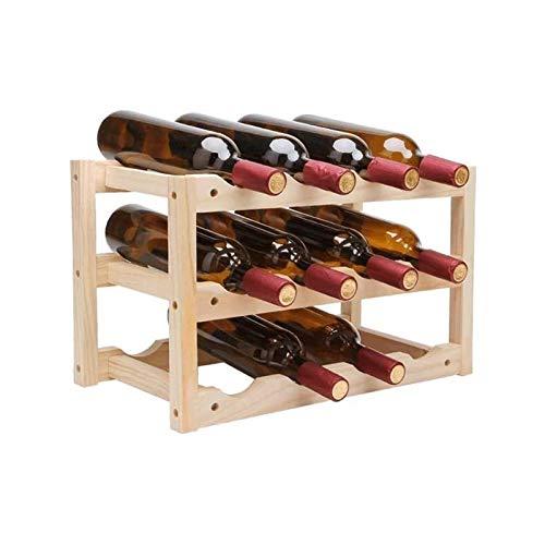 HKJZ SFLRW Rack de Vino Contador de Piso Independiente, estantería de Vino de Almacenamiento de 3 Niveles para encimera, 12 Botellas...