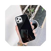 キャンディーカラー耐衝撃バンパー電話ケースfor iPhone12mini 12 ProMaxソリッドカラーミラー表面for iPhone11 11Pro Max XR X-Black-for iPhone XS