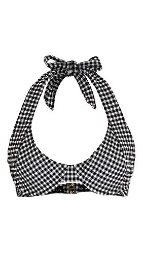 Faithfull The Brand Women's Le Voilier Top, Gingham Black & White, Large