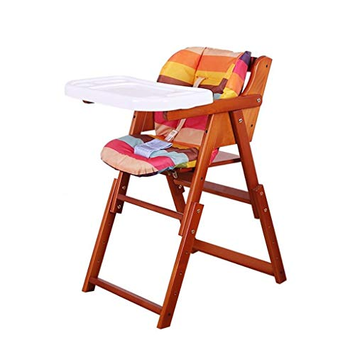 Great Deal! CHEXIAO Children's Solid Wood High Chair Baby Multi-Function Seat Foldable Portable Dini...