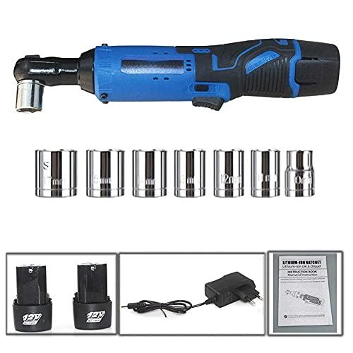 NAOKEY Conjunto de Llaves de Trinquete Eléctrico 12V, Trinquete Inalámbrico de 3/8'con Baterías de 2 Partes 1500mah Y 1 Cargador Rápido, 7 Enchufes(Size:Dos baterías)