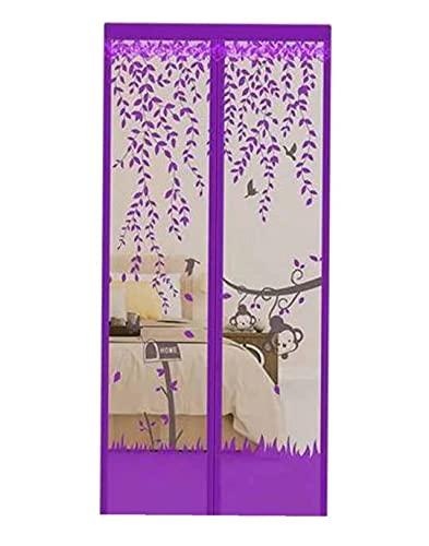 Junqin Puerta con mosquitera magnética, mosquitera, precinto automático Reforzado para Evitar la Entrada de Insectos, Apto para Puertas de hasta 59x86 Pulgadas-Monkey Purple||39 * 79in