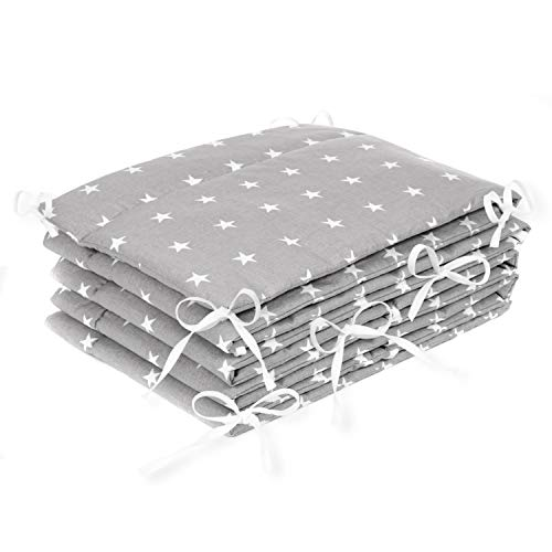 Amilian® Bettumrandung Nest Kopfschutz Nestchen 360x30 cm Bettnestchen Baby Kantenschutz Bettausstattung Sternchen grau