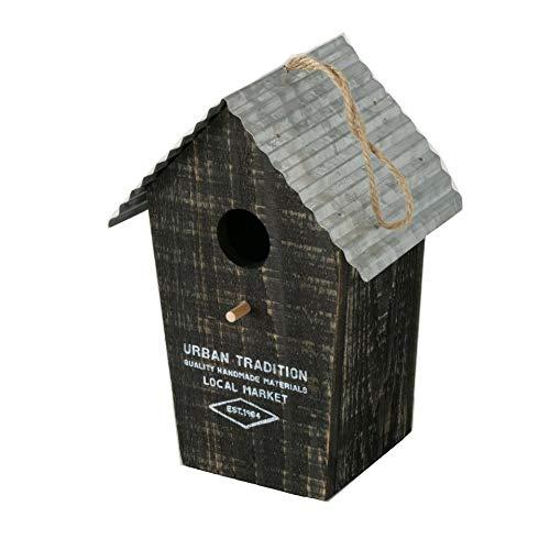 CasaJame Holz Vogelhaus für Balkon und Garten, Nistkasten, Haus für Vögel, Vogelhäuschen, Naturlook schwarz mit Zinkdach und Aufdruck Urban Tradition 15x12x22cm