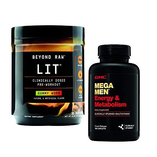 GNC Men's Energy Workout Bundle - Beyond Raw LIT Gummy Worm and Mega Men Energy and Metabolism
