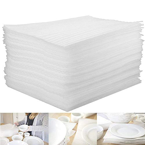 100 Pcs Packing Supplies Cushion Foam Sheets - 12' x 12' Foam Wrap Sheets to Protect Dishes China Glasses Plates for Moving House Packing