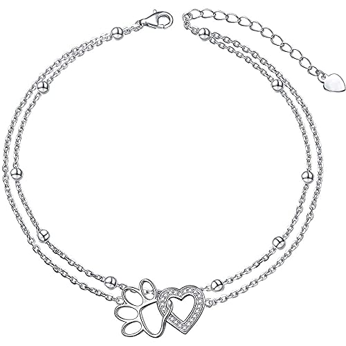 zhaita Ladytree - Tobillera de plata de ley con cadena de corazón para mujer, para pies, ajustable,...