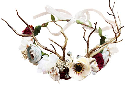 Deer Flower Crown Boho Flower Headband Hair Wreath Floral Headpiece Halo with Ribbon Wedding Party Festival Photos by Vivivalue
