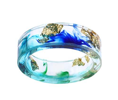 crintiff - Minimalistischer und schicker Ring mit Pailletten aus Gelbgold,handgefertigt - Blau, Grün und Golden