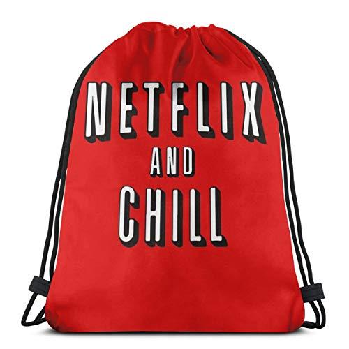 NA Schultertasche mit Kordelzug, Netflix und Chill-Rucksack, Sporttasche, Schultasche, Schulrucksack, Fitnessstudio, Reisetasche, leicht