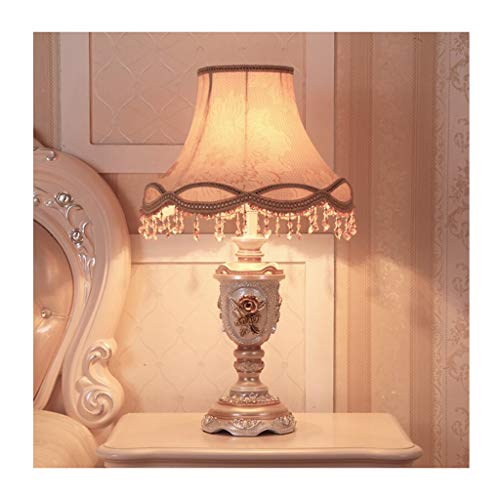 Lampe de table Chambre Lampe de bureau Salon Décoration Retro Table De Nuit Lumière Gradateur Européen Tissu Nuances Décoration