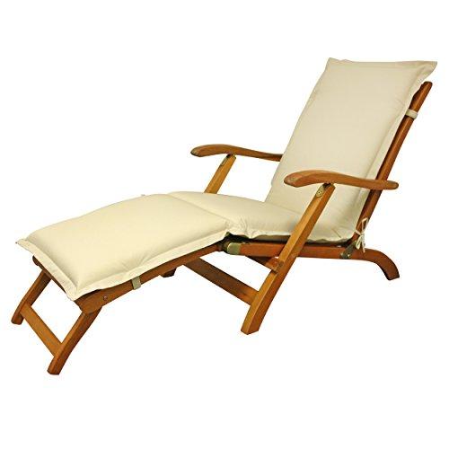 IND-70456-AUDC Deck Chair Auflage Premium, extra dicke Polsterauflage für Liegestuhl mit Reißverschluss, 190 x 50 x 9 cm, Beige