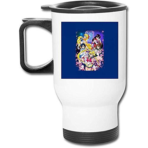 Tazza da caffè aspirapolvere a doppia parete in acciaio inossidabile da 16 oz Sailor Moon Super Group con coperchio antispruzzo