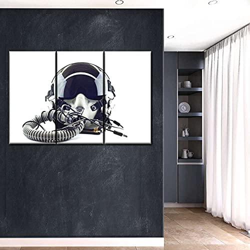 AWER 3 Piezas Cuadro en Lienzo Casco de la fuerza aérea multi panel Modernos Lienzo Decorativo para Pared, Cuadros Decoracion para Pasillo Salon dormitorios XXL 108x56 cm con Marco