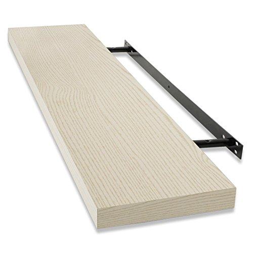 casa pura® Design Wandregal Stockholm | matt | freischwebend (versteckte Halterung) | in 5 Farben und 3 Längen (beige/Holzoptik, 60cm)