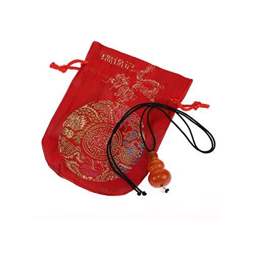 lachineuse Feng Shui - Collar con Colgante de ágata Naranja y Bolsa de satén