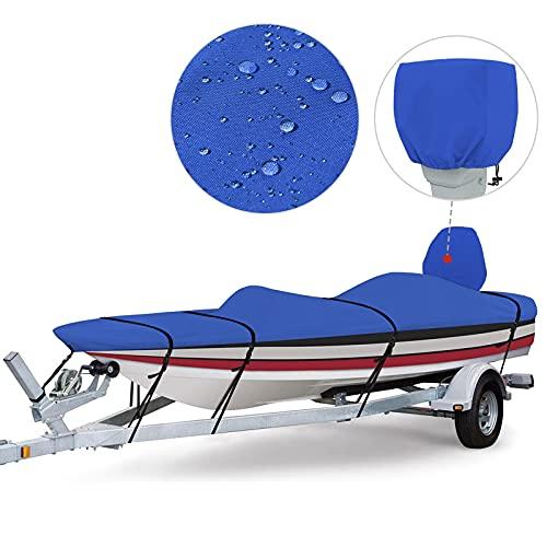 RVMasking 800D 100% impermeable cubierta de barco para V-Hull Runabouts y barcos de bajo (16'-18.5'L por hasta 98' W, azul)