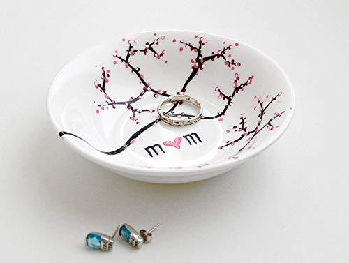 Cherry Blossom Branch Jewelry Bowl, Personalized Ring Dish, Personalized Jewelry...