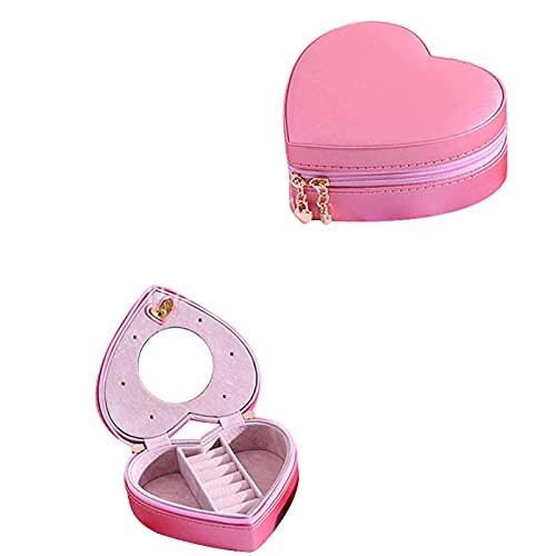 SMEJS Joyero Organizador de joyas Love Organizador de cuero PU Exhibidor con espejo pequeño Estuche de almacenamiento de viaje para anillos Pendientes Collar Pulseras 10 * 10 * 5CM