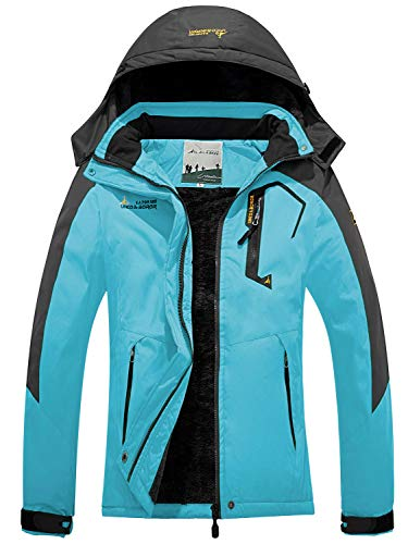 FARVALUE Women's Waterproof Ski Jacket Mountain Winter Warm Snow Coat Windbreaker Snowboarding Jacket with Hood Blue Medium