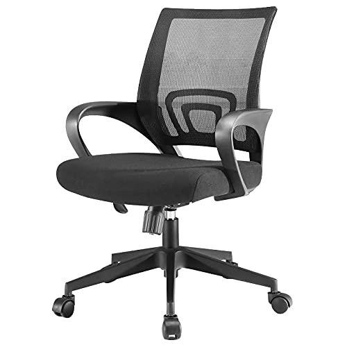 Office Desk Chair Ergonomic Mid-Back Desk Chair Lumbar Support Mesh Computer Chair Adjustable, Swivel Task Chair with Armrest Black