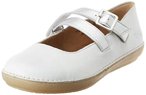 Kickers Women's Fausty Closed Toe Ballet Flats, Silver (Blanc Argent 33), 4 UK