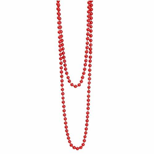 MagiDeal Collier Longue aux Perle Ronde Rouge en Verre Décoration Pull-Over Vêtement Femme