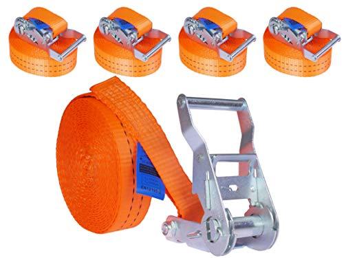 4 Stück 2000kg 6m Spanngurte mit Ratsche 1 teilig einteilig Ratschengurt Zurrgurte 35mm orange 2t 2000 daN