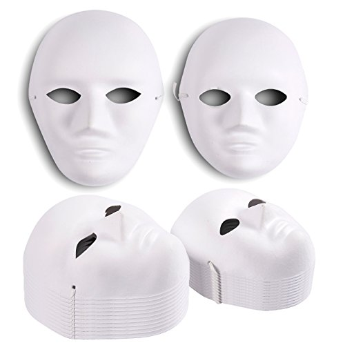 Opera Masks for Masquerade Party Decorations (White, 24-Pack)