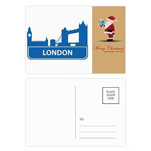 Londen Engeland blauw oriëntatiepatroon Kerstman ansichtkaart Set Thanks Card Mailing 20 stks