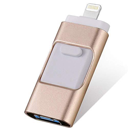 FLPLX USB Flash Drives Compatible iPhone/iOS 128GB [3-in-1] OTG Jump Drive, USB 3.0 Thumb Drive External USB Memory Storage, Flash Memory Stick Compatible Apple, iPad, Android & PC (Gold)