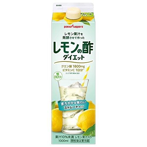 ポッカサッポロ レモン果汁を発酵させて作ったレモンの酢ダイエットストレート 1000ml紙パック×6本入×(2ケース)