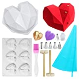 Chocolate Molds Silicone, Heart Molds for Chocolate Trays Breakable Heart 6 Cup 3D Small Geometric Diamond Shapes Cake Pan with Wooden Harmmer and Silicone Brush Cake Decorator for Diy Baking Tools