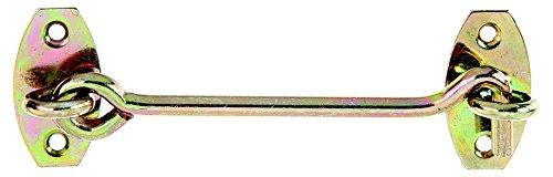 GAH-Alberts 903855 Sturmhaken auf Platte, galvanisch gelb verzinkt, 120 / Ø5,8 mm