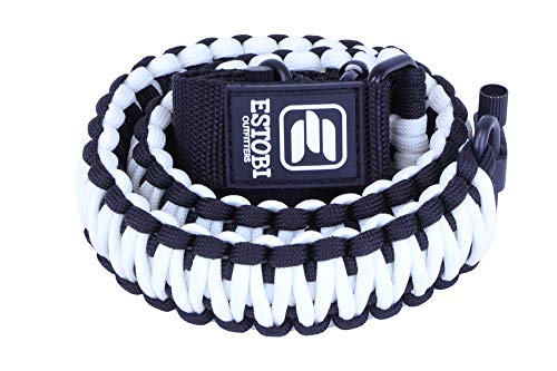 Estobi Outfitters Glow in The Dark Gun Sling, Tactical 2 Point Rifle Sling with Swivels, Comfortable and Lightweight 550 Paracord with Adjustable Strap for Rifle, Shotgun or Crossbow (White)