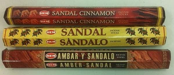 Hem Sandalwood Variety Set 60 Incense Sticks Sandal Cinnamon Amber Sandal Sandal
