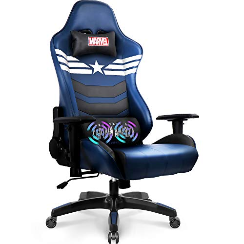 Marvel Avengers Massage Gaming Chair Desk Office Computer Racing Chairs - Adults Gamer Ergonomic Game Reclining High Back Support Racer Leather (Captain America)