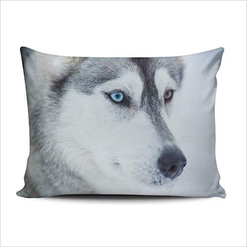 WH-CLA Cushion Cover Siberian Husky Dog Einfaches Rechteck Versteckter Reißverschluss Kissenbezug Kissenbezug 40X60Cm Kissenbezug Anpassbar Zwei Seiten Gedruckt Für Schlafzimmer Wohnzimm