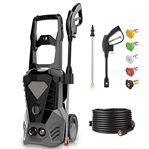 3500PSI Electric Pressure Washer 2.6GPM Power Washer 1800W High Pressure Washer Cleaner Machine with Spray Gun, 5 Nozzles & Detergent Tank (Dark Grey)