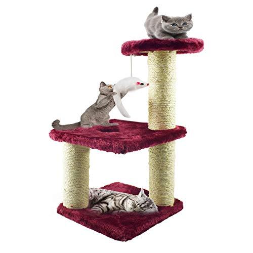 Zubita Tiragraffi per Gatti, Tre Strati Albero per Gatti Scratching Post Cat Centro di attività per Gatti con Naturali Sisal Tiragraffi con Peluche per Gatti Rilassarsi e Dormire