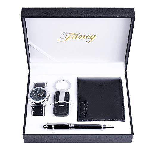 MJARTORIA Set de regalo para hombre con reloj de pulsera de piel sintética, monedero para coche, gafas de sol, cinturón, caja de regalo, regalo para San Valentín, Navidad, día del padre (negro-A)